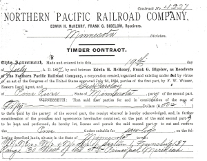 Timber Contract Northern Pacific RR