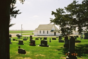Church and cemetery are next to each other, Community Cemetery, Iowa